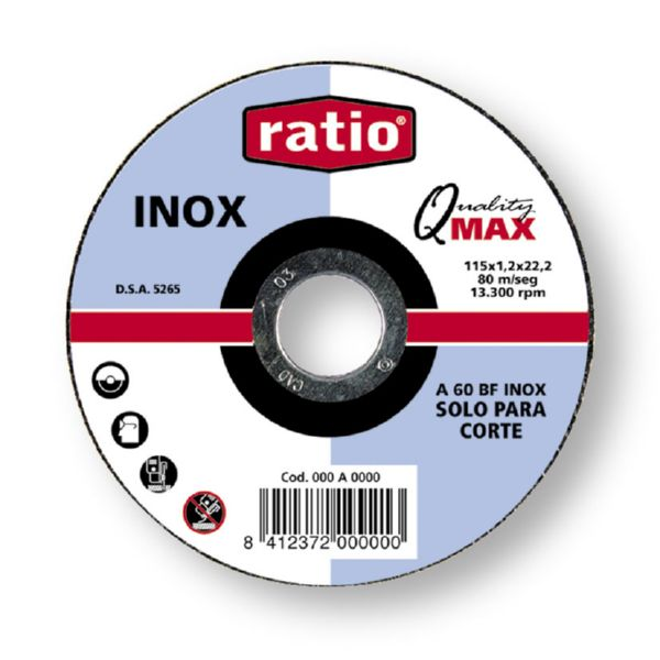 DISCO CORTE INOX/METAL 115X1  RATIO