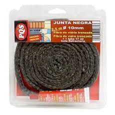 JUNTA NEGRA REDONDA ESTUFA PUERTA 6 MM. FIBRA DE VIDRIO CON TUBO DE COLA PQS